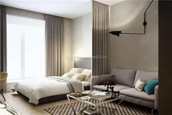 现代小户型客厅卧室一体装修设计效果图