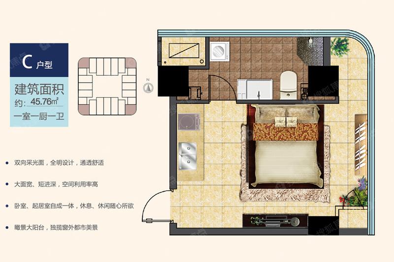 C户型一室一厨一卫-45.76-1室0厅C户型一室一厨一卫-45.76-1室0厅