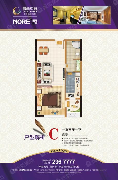 鲁商中心C户型-1室1厅1卫鲁商中心C户型-1室1厅1卫