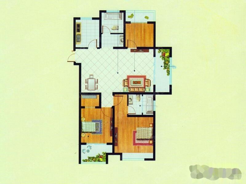 二期高层E户型-3室2厅2卫-113.5二期高层E户型-3室2厅2卫-113.5