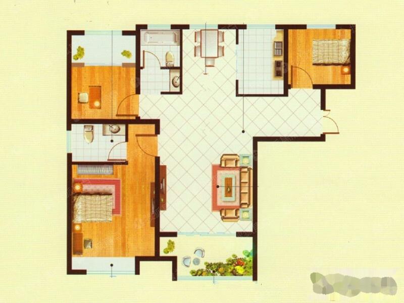 二期高层D户型-3室2厅2卫-110.0二期高层D户型-3室2厅2卫-110.0
