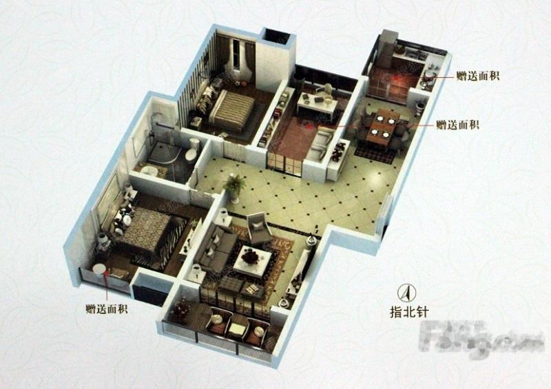 一期高层B户型-3室2厅1卫-90.0㎡一期高层B户型-3室2厅1卫-90.0㎡