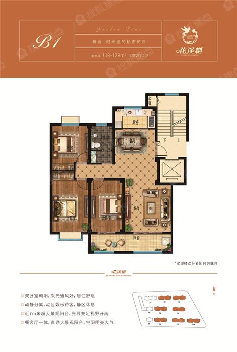 B1户型 建面约118-123㎡-3室2B1户型 建面约118-123㎡-3室2