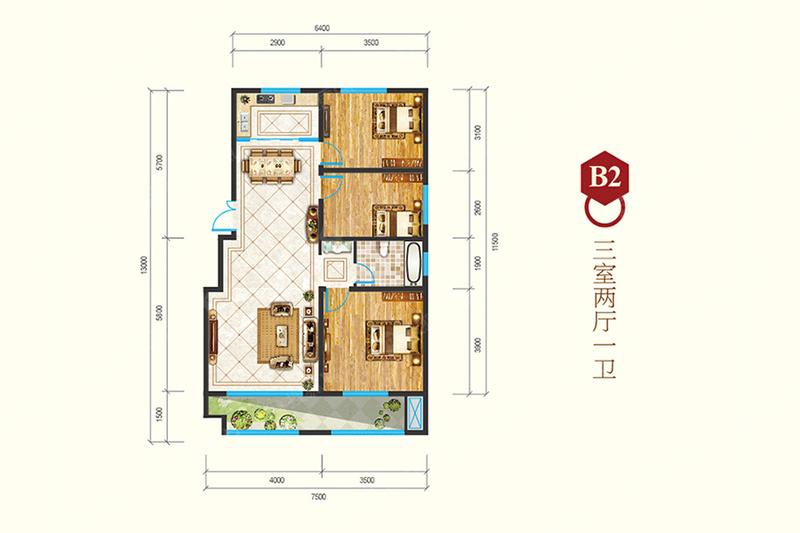 B2-3室2厅1卫B2-3室2厅1卫