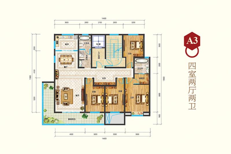 A3-4室2厅2卫A3-4室2厅2卫