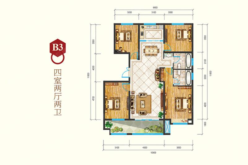 B3-4室2厅2卫B3-4室2厅2卫