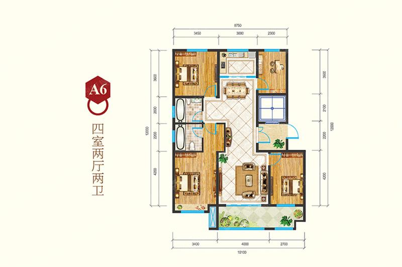 A6-4室2厅2卫A6-4室2厅2卫